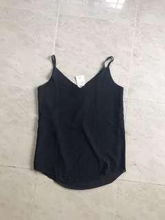 Black V neck Spag Top