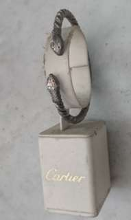 Vintage double snake head silver bangle (not Cartier)