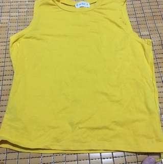 🚚 黃色無袖上衣