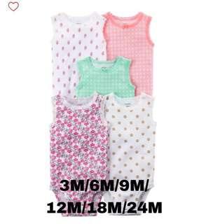 Brand New Carter's 5-Pack Sleeveless Bodysuits For Baby Girl