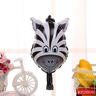 C120 birthday party foil balloon zoo animal zebra