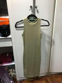 Olive Ribbed Body Fit Turtleneck Dress