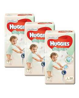 FREE DELIVERY HUGGIES PLATINUM PANTS SIZE L FOR BOYS