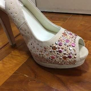 Bling bling platform leather high heels