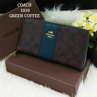 Coach Wallet Green Coffee Color