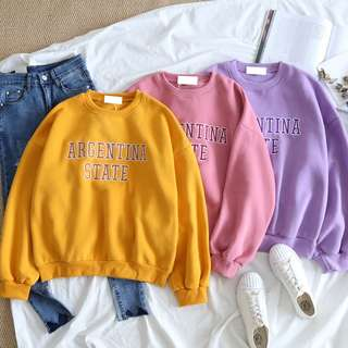 PO Argentina State Word Candy Colour Long Sleeve Sweater Shirt