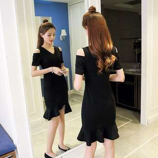 Summer Black Strapless Mid-Long Fishtail Dress 夏新款性感显瘦名媛气质小香风小黑裙露肩连衣裙中长款鱼尾裙子