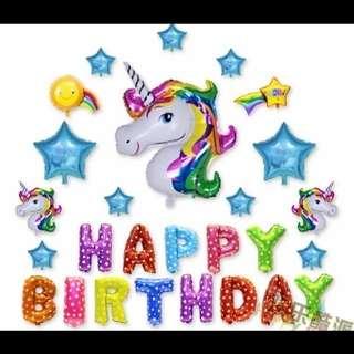 🦄 [Instock] Happy Birthday Party Balloon Sets - Rainbow Unicorn