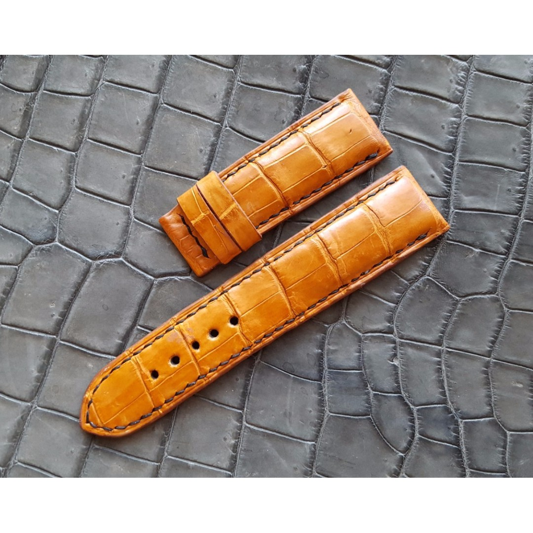 030d0ecca 24mm Gold Tan Alligator Watch Strap for Panerai Submersible 44mm Case,  Luxury, Watches on Carousell