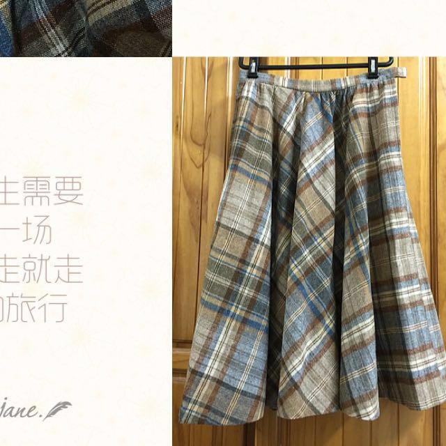 (超值價)日本購入🌟毛料格紋不規則打摺中長裙