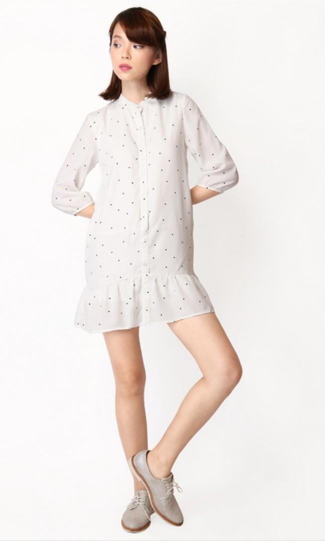 dff016a329d AfA A for Arcade Selby Polkadot Shirt Romper Dress