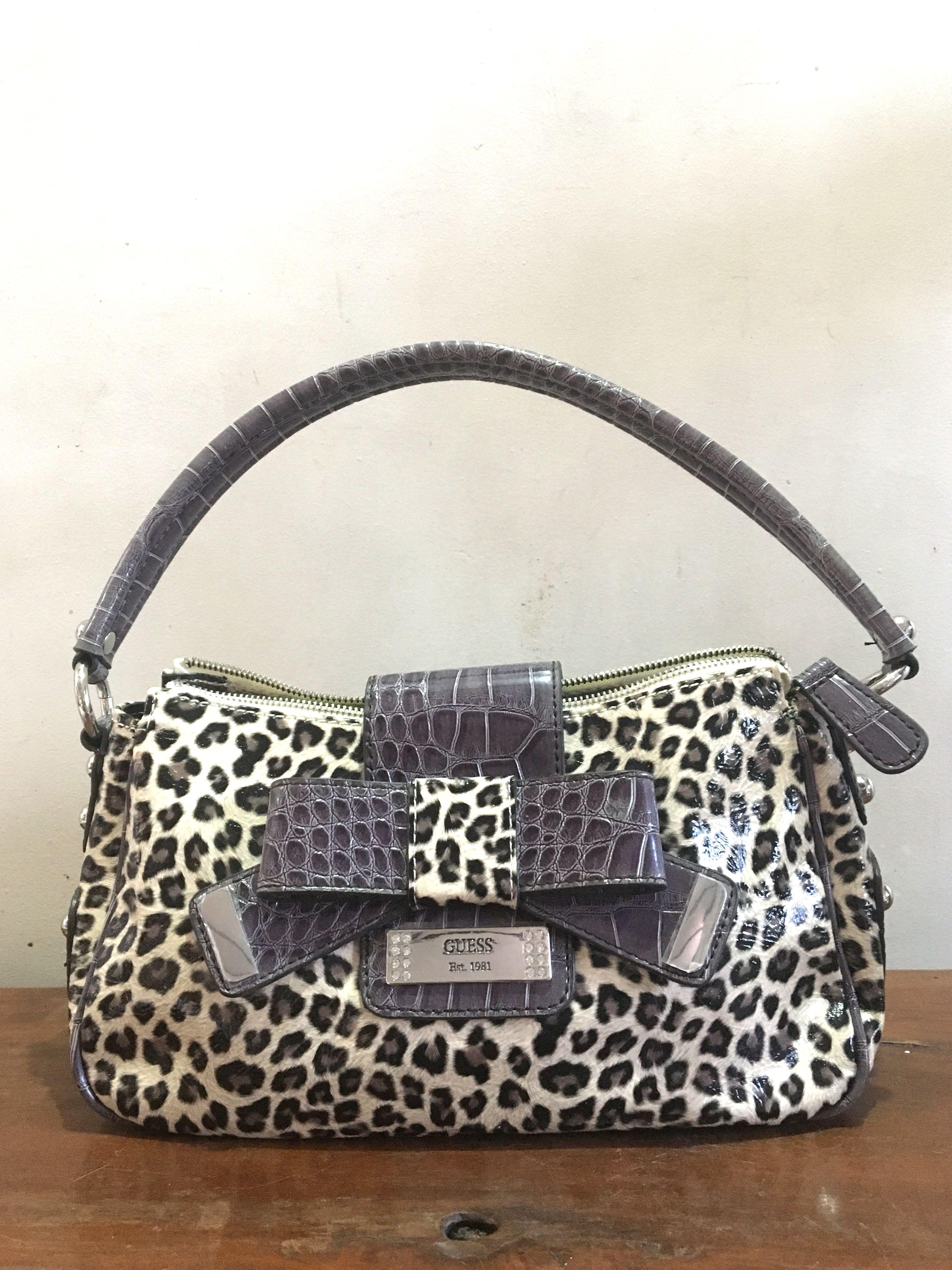 Authentic Guess Laura Brown Leopard Print Handbag Women S Fashion Bags Wallets On Carou