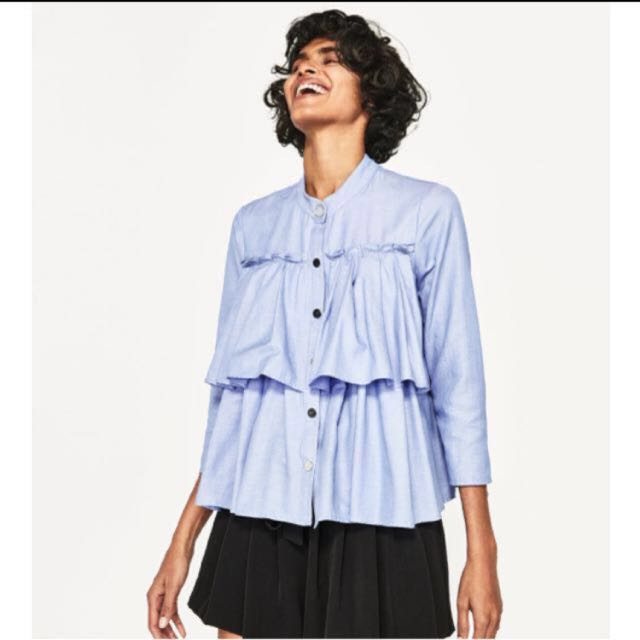 733bdf481495d2 Authentic New Zara Ruffled Shirt with Button Detail