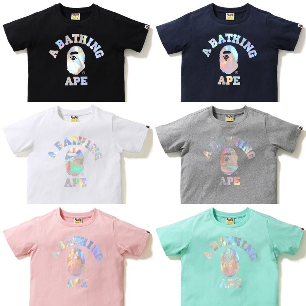 5d5cb2f1 BAPE HOLOGRAM COLLEGE TEE, Women's Fashion, Clothes, Tops on Carousell