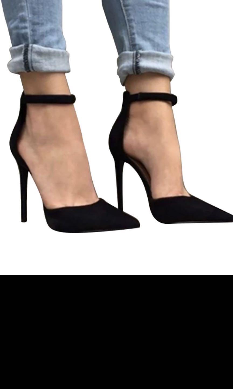 Black ankle strap pointy heels