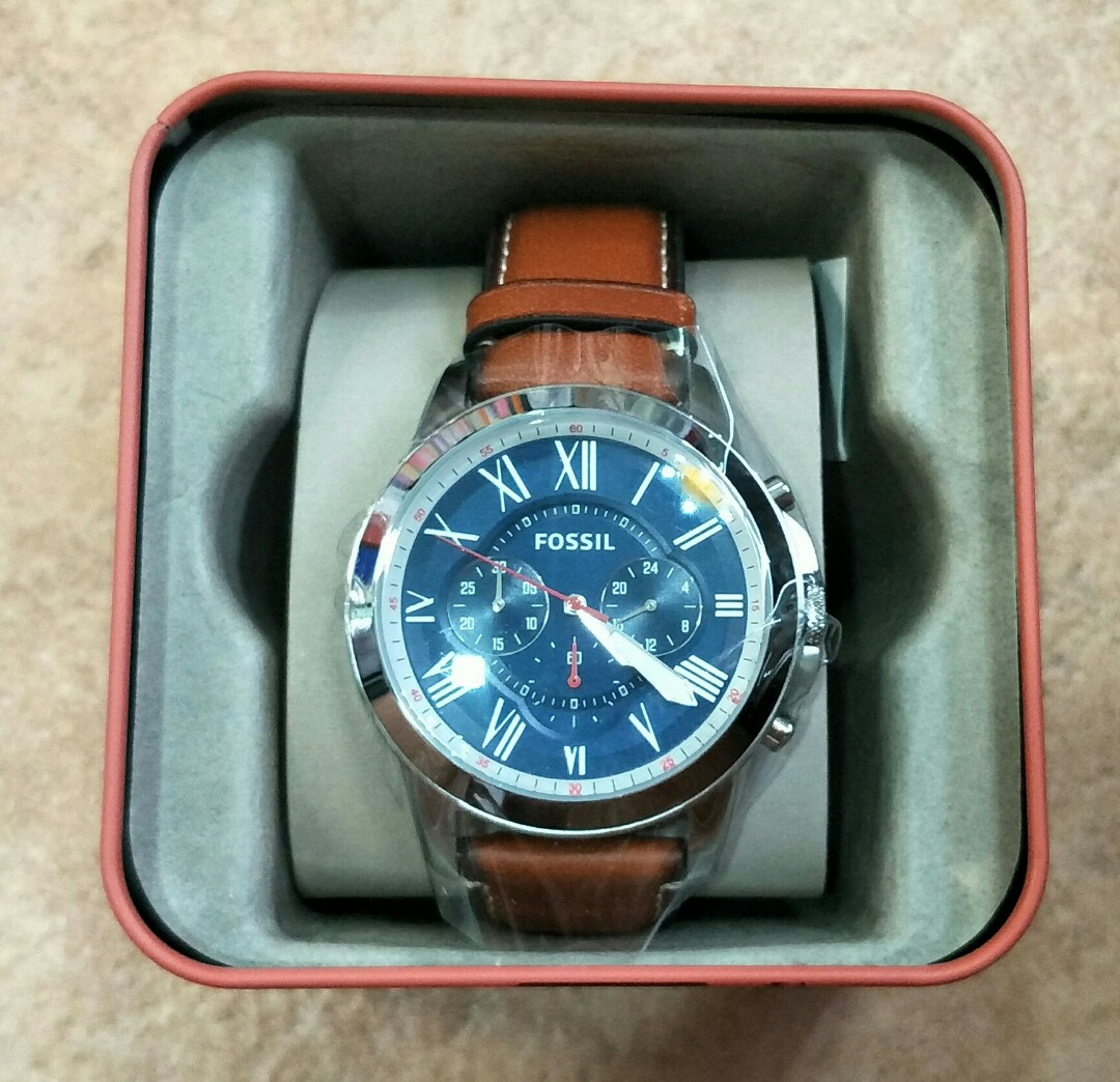 Brand New Fossil FS5210 Grant Chronograph Watch Navy Blue