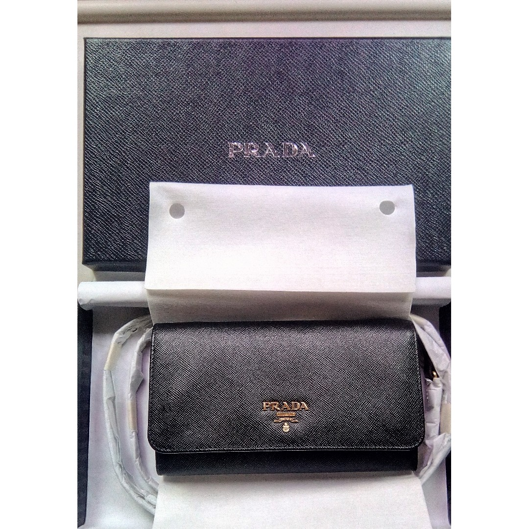 bafacec863b096 BRAND NEW PRADA Saffiano Wallet with leather shoulder strap Bag ...