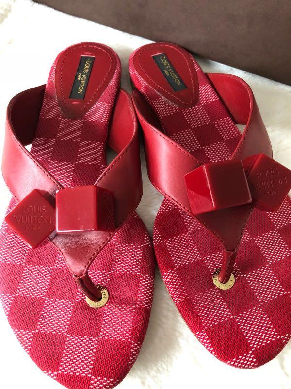 Louis Vuitton Red Damier Slip-on sandals for sale! 100% Authentix