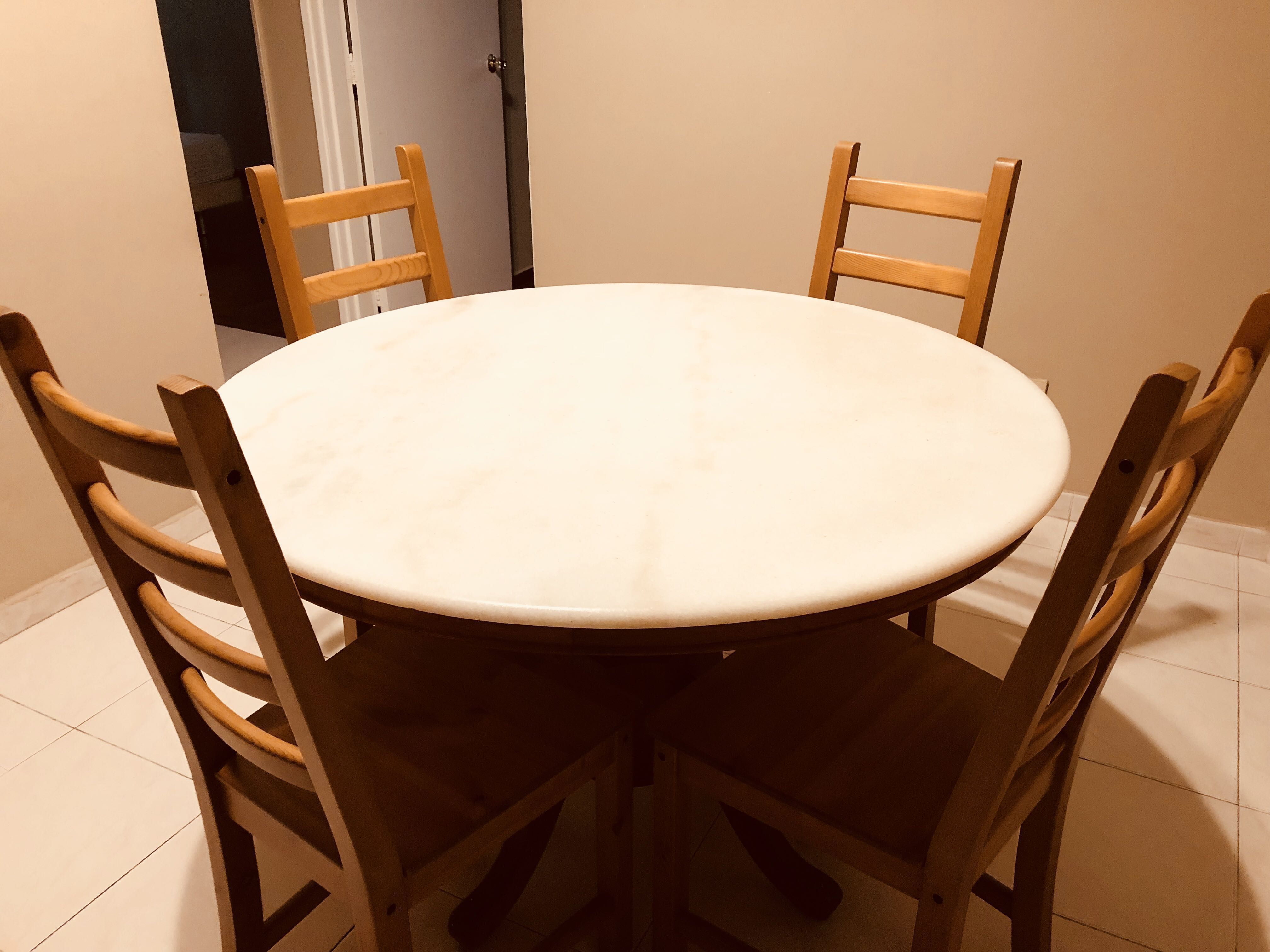 Marble Top Round Dining Table With Four Chairs Furniture Tables Chairs On Carousell