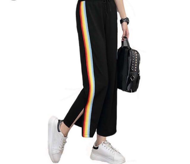 NEW! rainbow side stripe sweatpants