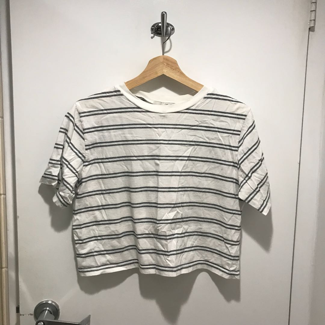 OAK AND FORT white striped crop tshirt