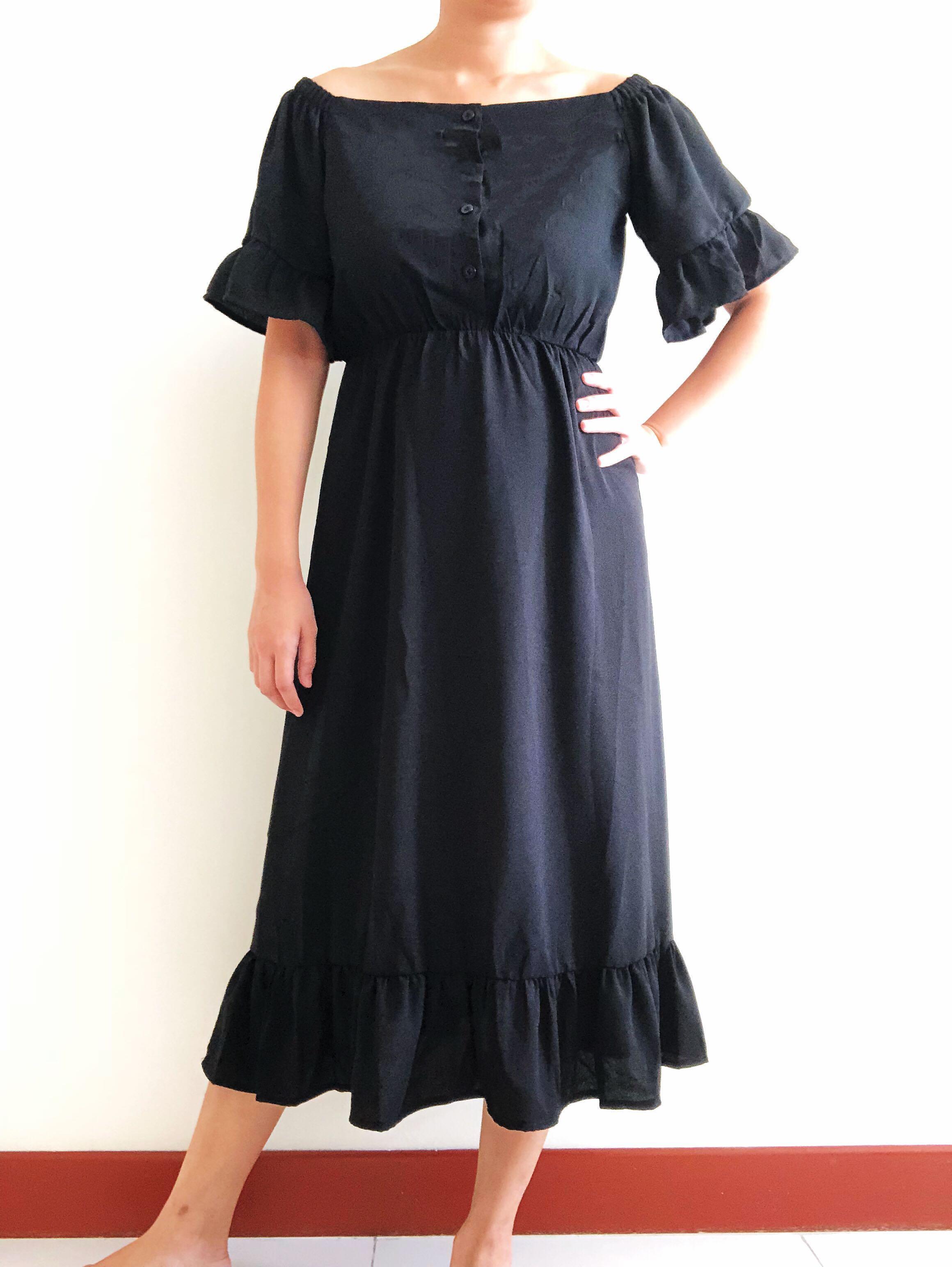 d5ea857f43 Off Shoulder Babydoll Maxi Dress