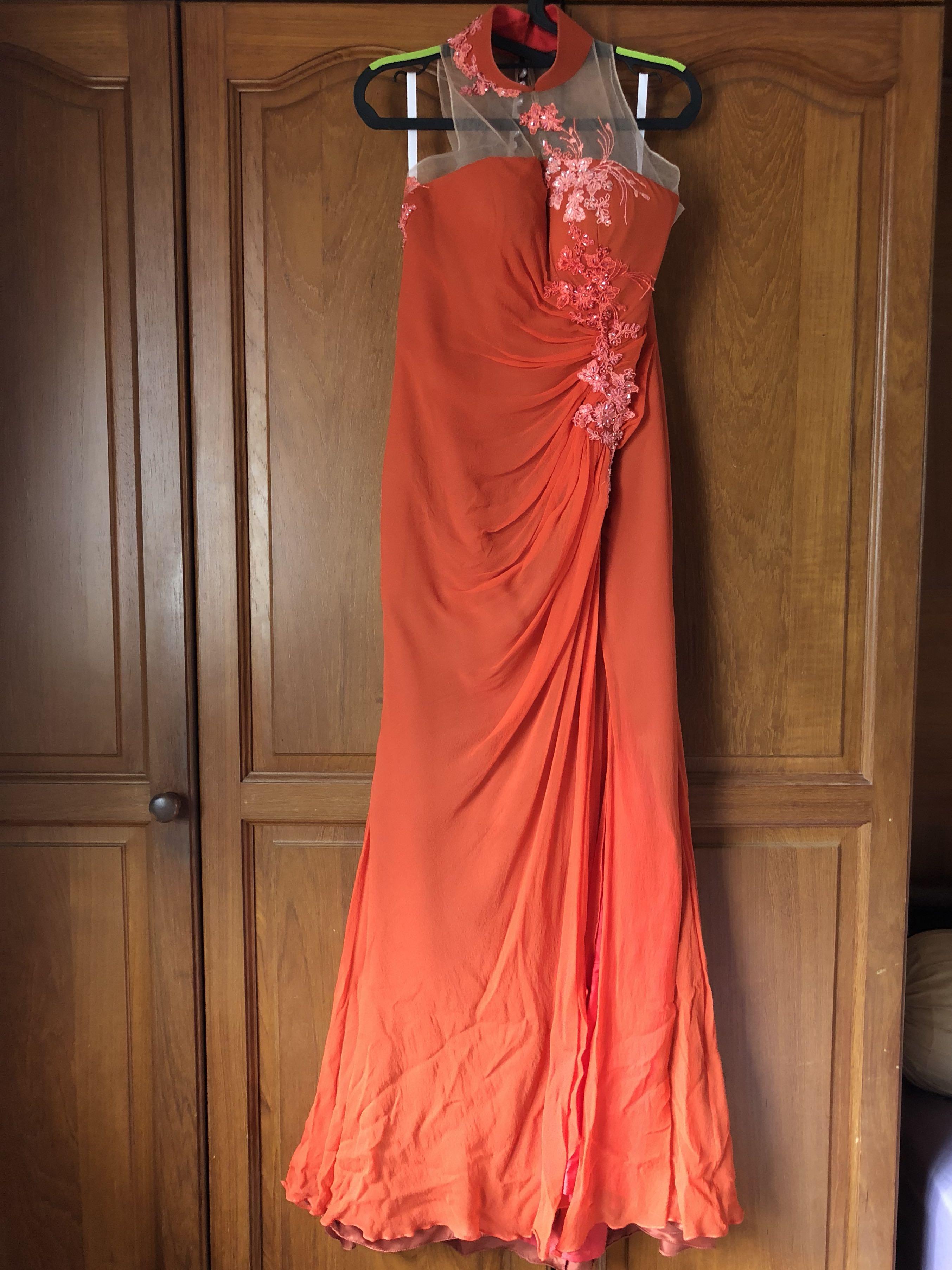 Oriental Evening Gown in Burnt Orange, Women\'s Fashion, Clothes ...