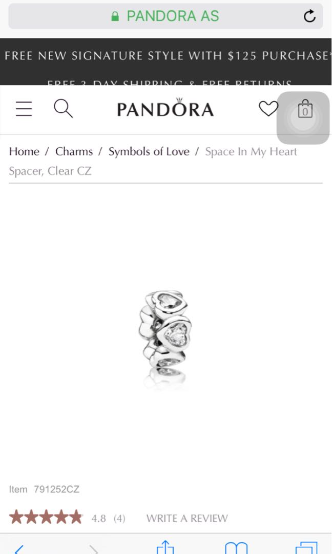 Pandora space in my heart spacer charm