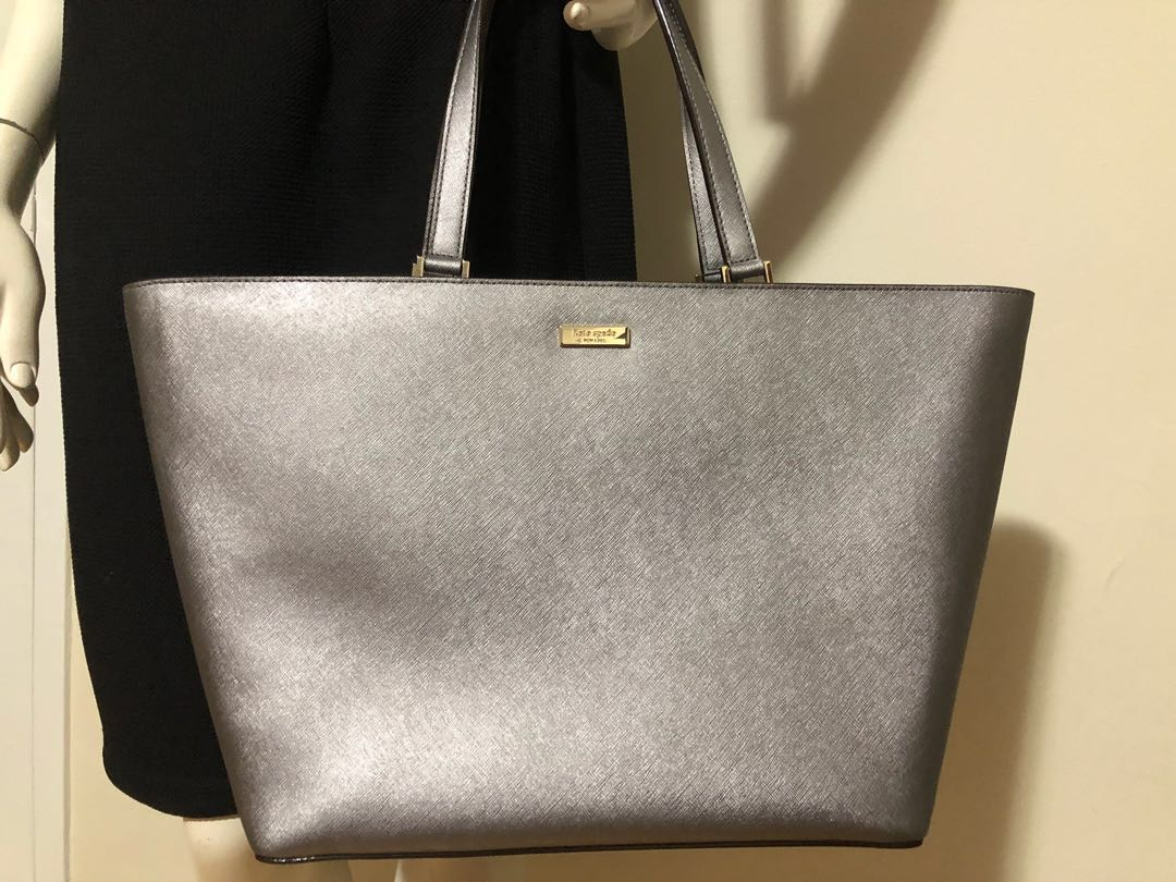 PRICE DROP!!! Authentic KATE SPADE Cedar Street Harmony large Saffiano leather tote in silver