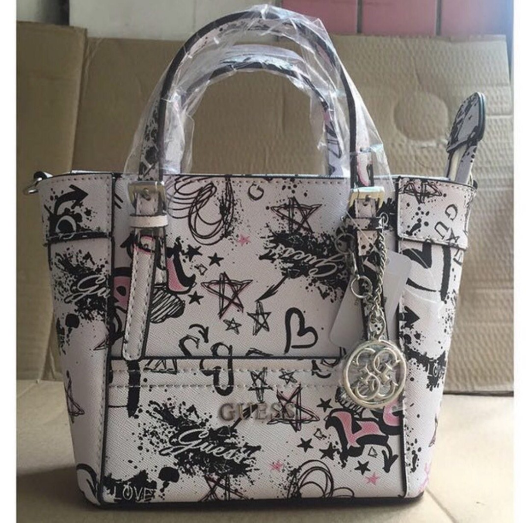 Promo Guess Delaney Floral Print Mini Tote crossbody Handbag ... 35dd349b61ba7
