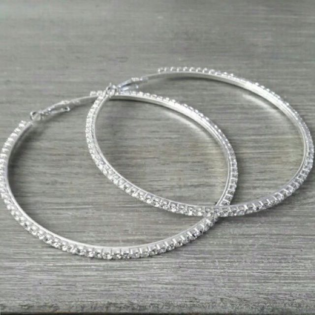 Rhinestone hoop earrings- 6 sizes