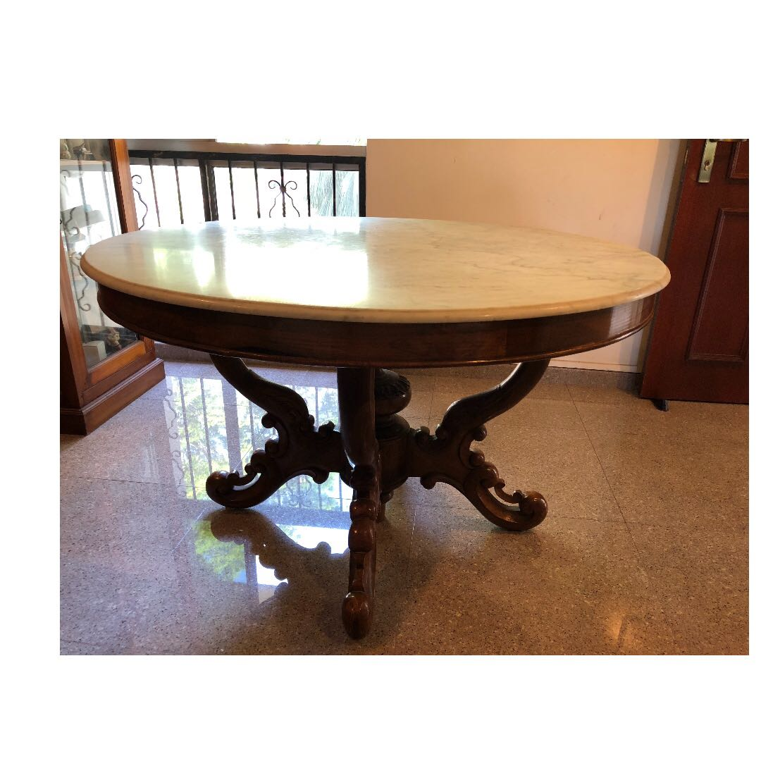 Round Marble Top Dining Table On Burmese Teakwood Stand Furniture Tables Chairs On Carousell