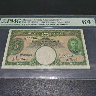 $5 Malaya 1941 64EPQ