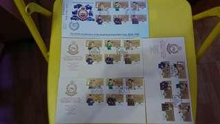 皇家香港警察150週年紀念首日封連郵票4個