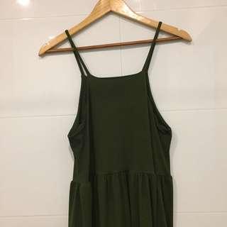 Army Green Ruffle Dress