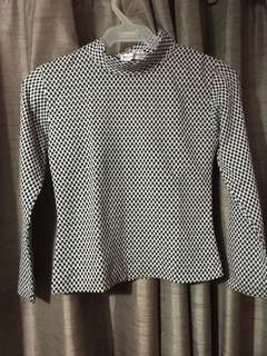 Checkered/Turtleneck Long sleeves