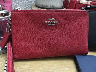 Coach double zip wristlet in RED