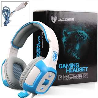 Gaming Headset, SADES SA906 7.1 Surround Stereo Gaming Headset with Mic Vibration LED (White)
