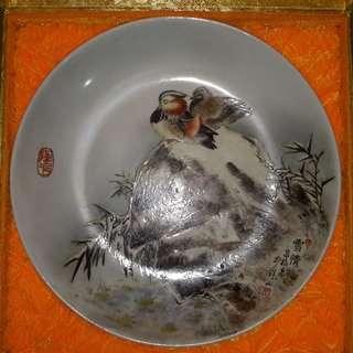 已故老藝人黃昌校 -「雪情」粉彩、柴窑燒瓷盤