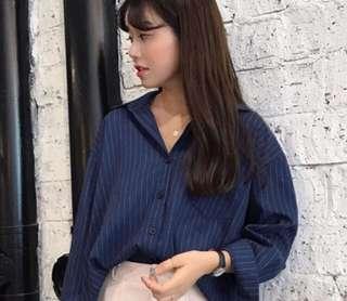 深藍條紋百搭襯衫