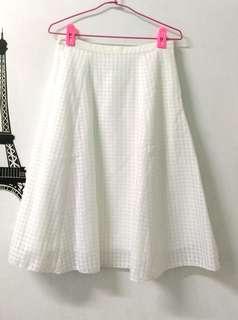 🚚 全新白色氣質格紋裙