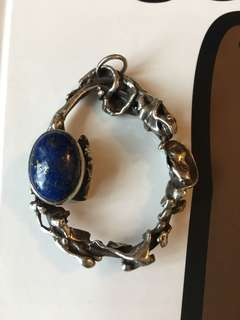 1970's Sterling & Lapis Hand Made Pendant