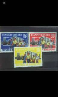 Singapore 1966 National Day stamps 3v Mounted Mint Workers