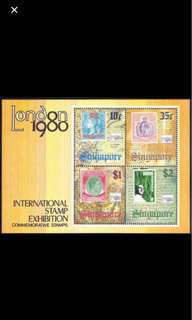 Singapore London 1980 stamp Exh miniature sheet MNH