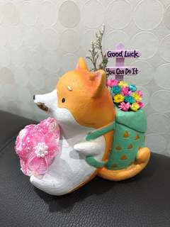 🌈SALE! Real Preserved Frozen Flowers in a Fox with Pink Hat Plant Clay Pot Good Luck You Can Do It