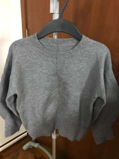 Puff sleeve knit top (Grey)
