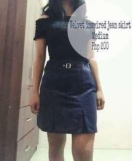 Navy Blue Jean skirt (Velvet inspired)