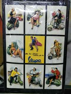 Vintage Pin up Girls with Vespa Metal Plate