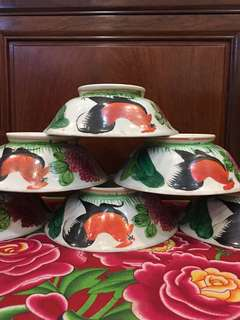 Vintage Rooster Bowls - 6 Pcs