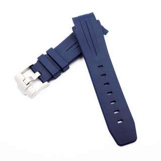 (2119) 全新 21mm Rolex Deepsea 專用圓頭藍色代用膠錶帶配精鋼針扣